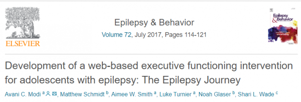 Development of a web-based executive functioning intervention for adolescents with epilepsy: The Epilepsy Journey