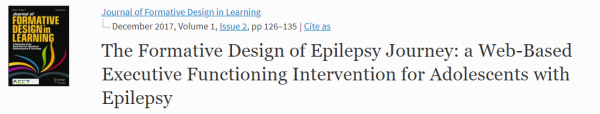 The Formative Design of Epilepsy Journey: A Web-Based Executive Functioning Intervention for Adolescents with Epilepsy