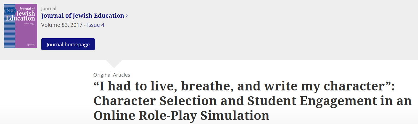 """""""I had to live, breathe, and write my character"""": Character Selection and Student Engagement in an Online Role-Play Simulation"""