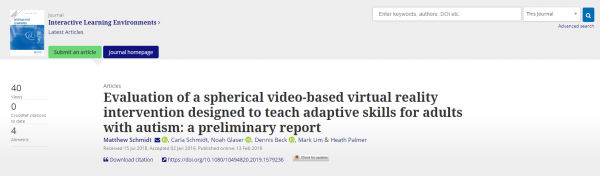Evaluation of a  spherical video-based virtual reality intervention designed to teach adaptive skills for adults with autism: A preliminary report